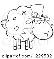 Black And White St Patricks Day Sheep With A Top Hat And Shamrock