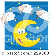Clipart Of A Happy White Sheep Leaping Over A Crescent Moon Royalty Free Vector Illustration