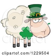 Clipart Of A St Patricks Day Sheep With A Top Hat And Shamrock Royalty Free Vector Illustration