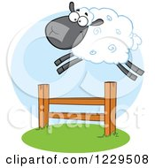 Clipart Of A Happy Black Sheep Leaping Over A Fence Royalty Free Vector Illustration