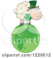 St Patricks Day Sheep With A Top Hat And Shamrock On A Globe