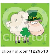 St Patricks Day Sheep With A Top Hat And Shamrock Over Clovers