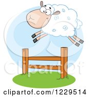 Clipart Of A White Sheep Jumping Over A Fence Royalty Free Vector Illustration