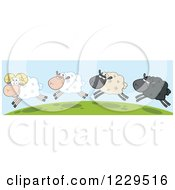 Clipart Of Happy Sheep Jumping On A Hill Top Royalty Free Vector Illustration