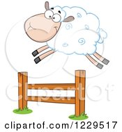 Clipart Of A Happy White Sheep Leaping Over A Fence Royalty Free Vector Illustration
