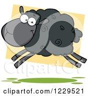 Clipart Of A Black Sheep Jumping Royalty Free Vector Illustration