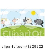 Clipart Of Happy Sheep Leaping On A Hill Top Royalty Free Vector Illustration