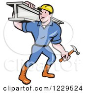Clipart Of A Construction Worker Foreman Carrying A Steel Beam Royalty Free Vector Illustration by patrimonio