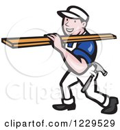 Clipart Of A Construction Worker Carrying Lumber On His Shoulder Royalty Free Vector Illustration