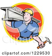 Clipart Of A Construction Worker Foreman Carrying A Steel Beam In A Red Circle Royalty Free Vector Illustration by patrimonio