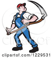 Clipart Of A Farmer Carrying A Scythe And Looking Over His Shoulder Royalty Free Vector Illustration