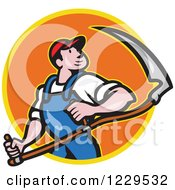Clipart Of A Farmer Carrying A Scythe And Looking Over His Shoulder In An Orange Circle Royalty Free Vector Illustration