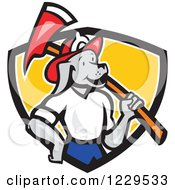 Dog Fireman With An Axe On His Shoulder In A Shield