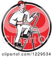 House Painter On A Ladder In A Red Circle