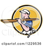 Clipart Of A Construction Worker Carrying Lumber On His Shoulder In A Yellow Circle Royalty Free Vector Illustration