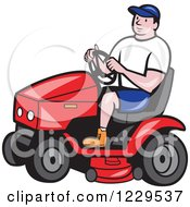 Clipart Of A Gardener Man Driving A Red Tractor Royalty Free Vector Illustration