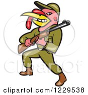 Clipart Of A Military Turkey Bird Hunter With A Rifle Royalty Free Vector Illustration by patrimonio