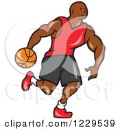 Clipart Of A Black Male Basketball Player Dribbling Royalty Free Vector Illustration