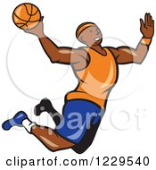 Clipart Of A Black Male Basketball Player Jumping For A Slam Dunk Royalty Free Vector Illustration