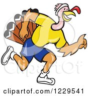 Clipart Of A Running Turkey In Profile Royalty Free Vector Illustration by patrimonio