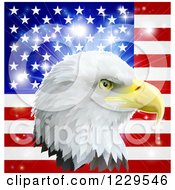 Clipart Of A Bald Eagle Head Over An American Flag And Burst Royalty Free Vector Illustration