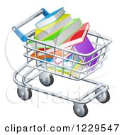 Clipart Of A Shopping Cart Full Of Books Royalty Free Vector Illustration