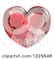 Clipart Of A Silhouetted Profiled Couple In A Reflective Red Heart Royalty Free Vector Illustration