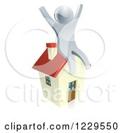 Clipart Of A 3d Silver Man Sitting And Cheering On A House Royalty Free Vector Illustration