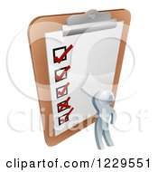 Clipart Of A 3d Silver Man Looking At A Large Survey Clipboard Royalty Free Vector Illustration