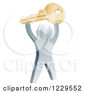 Clipart Of A 3d Silver Man Holding Up A Key Royalty Free Vector Illustration