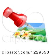 Clipart Of A Red Pin Over A Plumera Photo Royalty Free Vector Illustration by AtStockIllustration