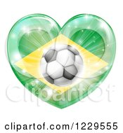 Clipart Of A Reflective Brazil Flag Heart And Soccer Ball Royalty Free Vector Illustration