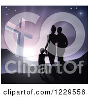 Clipart Of A Silhouetted Christian Family Walking Towards A Cross At Sunrise Royalty Free Vector Illustration