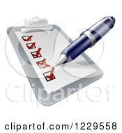 Clipart Of A Pen Filling Out A Survey On A Clipboard Royalty Free Vector Illustration by AtStockIllustration
