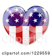 Clipart Of A Reflective American Flag Heart Royalty Free Vector Illustration by AtStockIllustration