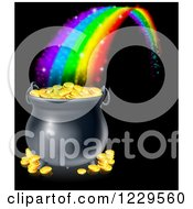 Clipart Of A Magic Rainbow Ending At A Pot Of Gold Over Black Royalty Free Vector Illustration by AtStockIllustration