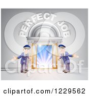 Clipart Of A Venue Entrance With Welcoming Friendly Doormen And Perfect Job Text Royalty Free Vector Illustration by AtStockIllustration