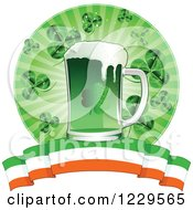 Clipart Of A Green St Patricks Day Beer With Shamrocks And An Irish Banner Royalty Free Vector Illustration by Pushkin