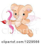 Clipart Of A Cute Flying Teddy Bear Cupid Aiming An Arrow Royalty Free Vector Illustration