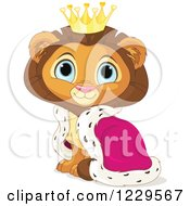 Cute Sitting Male Lion King With A Robe And Crown