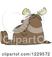 Clipart Of A Stubborn Moose Sitting With Folded Arms Royalty Free Vector Illustration