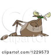 Clipart Of A Sophisticated Moose Sitting Back Royalty Free Vector Illustration