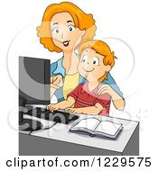 Clipart Of A Mother And Son Using A Computer Royalty Free Vector Illustration