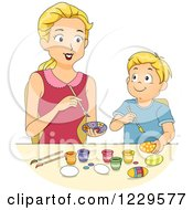 Clipart Of A Mother And Son Painting Easter Eggs Royalty Free Vector Illustration