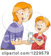 Clipart Of A Mother Giving Her Son A Glass Of Milk Royalty Free Vector Illustration by BNP Design Studio