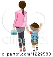 Clipart Of A Rear View Of A Mother Walking Her Son To School Royalty Free Vector Illustration