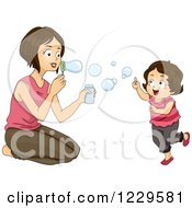 Clipart Of A Mom And Daughter Blowing Bubbles Royalty Free Vector Illustration by BNP Design Studio