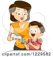 Clipart Of A Mother Putting Toothpaste On Her Sons Brush Royalty Free Vector Illustration