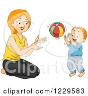 Clipart Of A Mother And Son Playing Catch With A Ball Royalty Free Vector Illustration