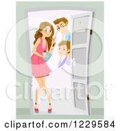 Clipart Of A Mom And Dad Greeting Their Teenage Daughters Date At The Door Royalty Free Vector Illustration by BNP Design Studio